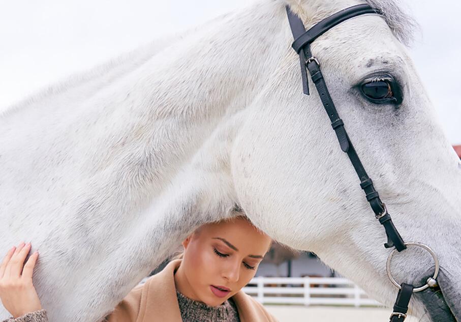 Бял кон и красиво момиче