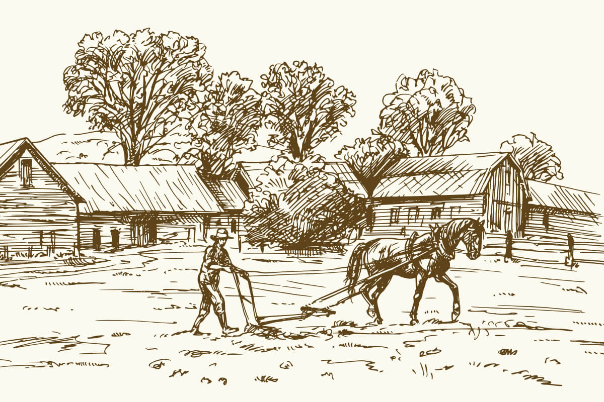 рисунка на кон извършващ земеделска работа